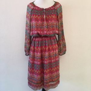 Diane von Furstenberg Boho Long Sleeve Silk Dress